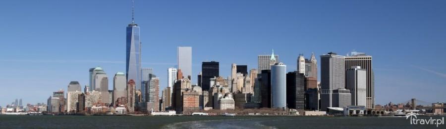 Panorama Nowego Jorku z promu na Staten Island
