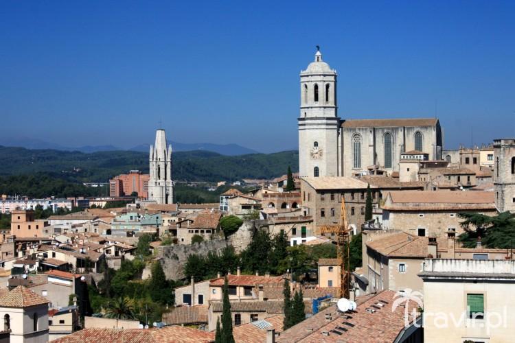 Panorama Girony w tle Katedra