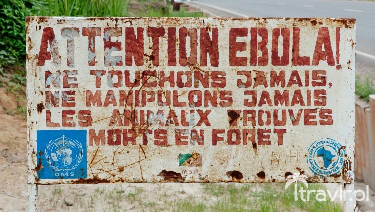 Wirus Ebola - znak w Makua, Kongo ostrzegający o możliwości zakażenia